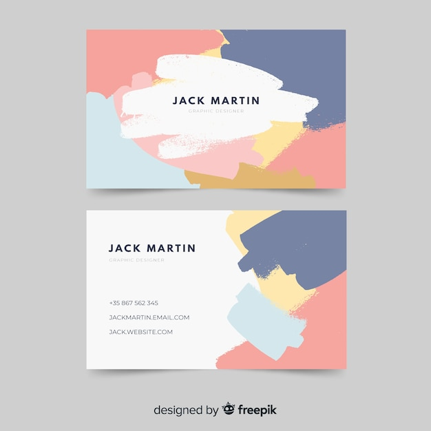 Abstract paint business card template Free Vector