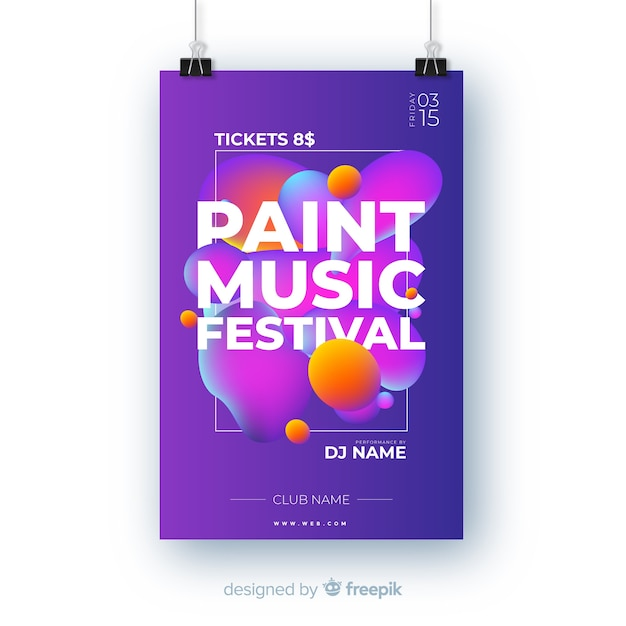 Abstract paint music festival poster template Free Vector