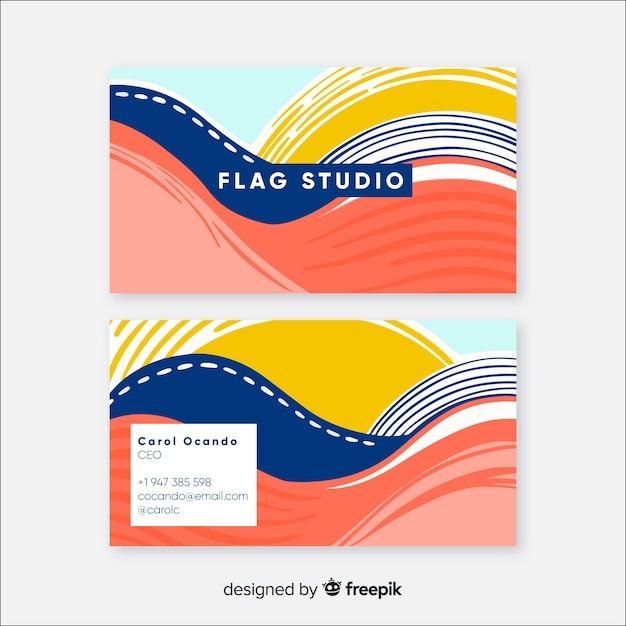 Abstract painted business card template Free Vector