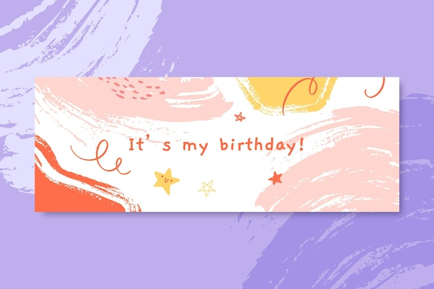 Abstract painted child-like birthday facebook cover Free Vector