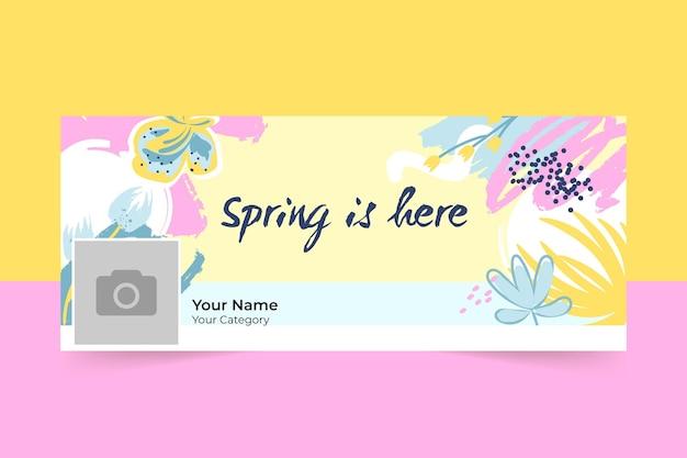 抽象塗装カラフルな春のfacebookカバー 無料ベクター