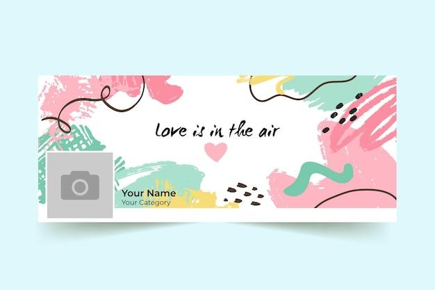 抽象画のカラフルなバレンタインデーのfacebookカバー 無料ベクター