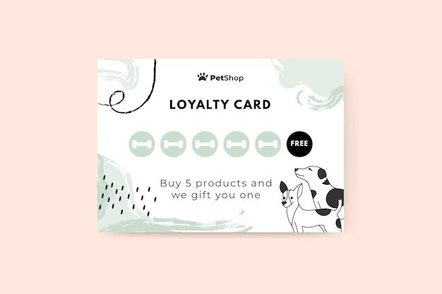 추상 그려진 된 단색 애완 동물 카드 무료 벡터