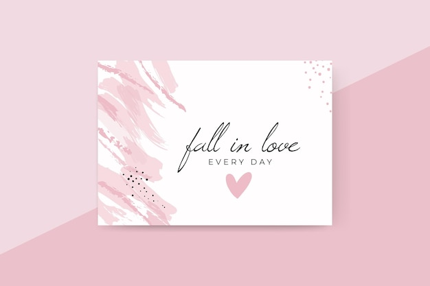 Abstract painted monocolor valentine's day card Free Vector