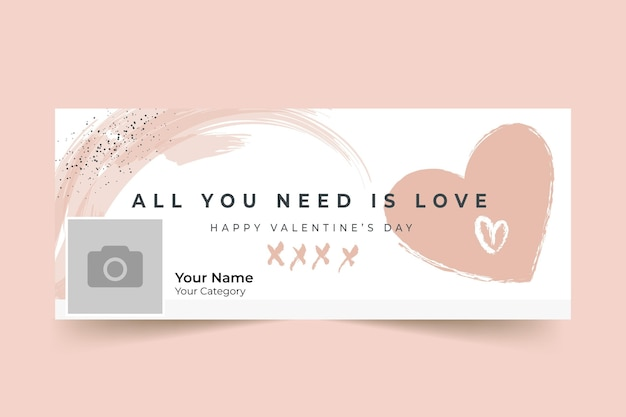 Abstract painted monocolor valentine's day facebook cover Free Vector