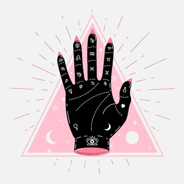 Abstract palmistry concept illustrated Free Vector