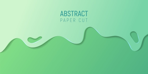 Abstract paper cut background. banner with 3d abstract background with  green paper cut waves. Premium Vector