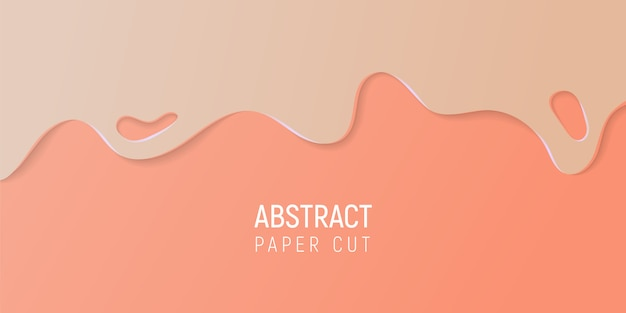 Abstract paper cut slime background. banner with slime abstract background with beige and coral paper cut waves. Premium Vector