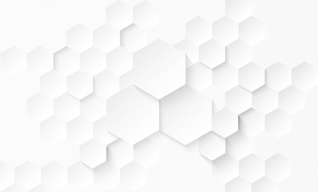 Abstract paper hexagon white background . Premium Vector