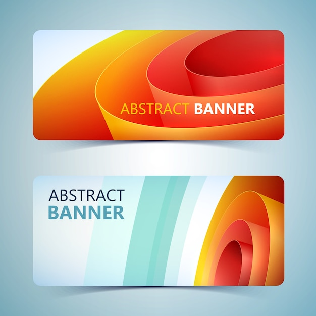 Abstract paper horizontal banners with orange rolled wrapping coil Free Vector