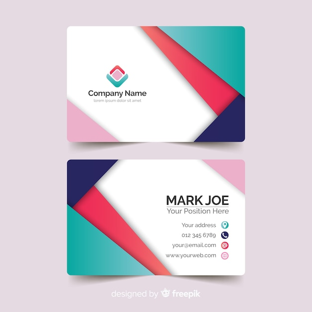 Abstract paper style business card template Free Vector