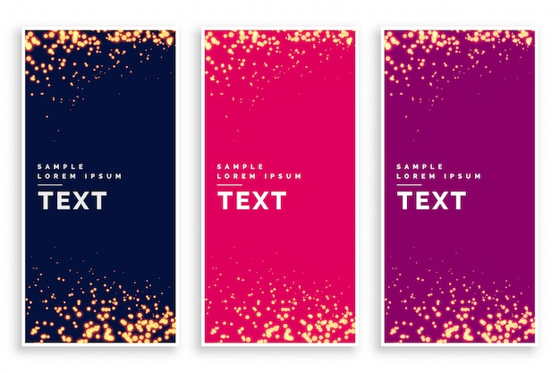 Abstract particle sparkles banner set Free Vector