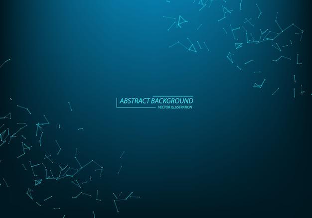 抽象的な粒子と線。神経叢効果。未来的なイラスト。 Premiumベクター
