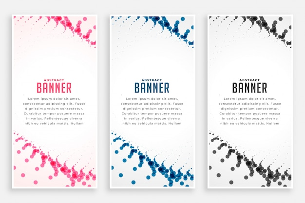 Abstract particles halftone vertical banners in three colors Free Vector