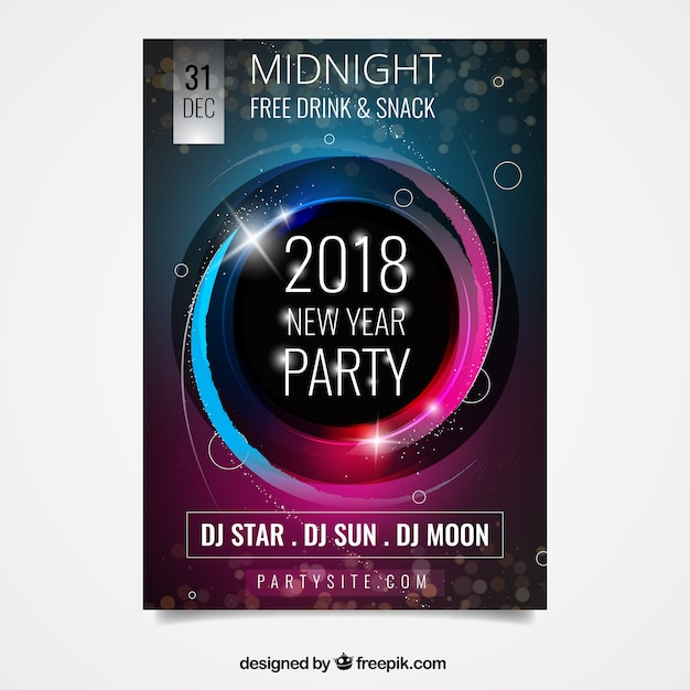 Abstract party poster for new year with pink and blue elements Free Vector