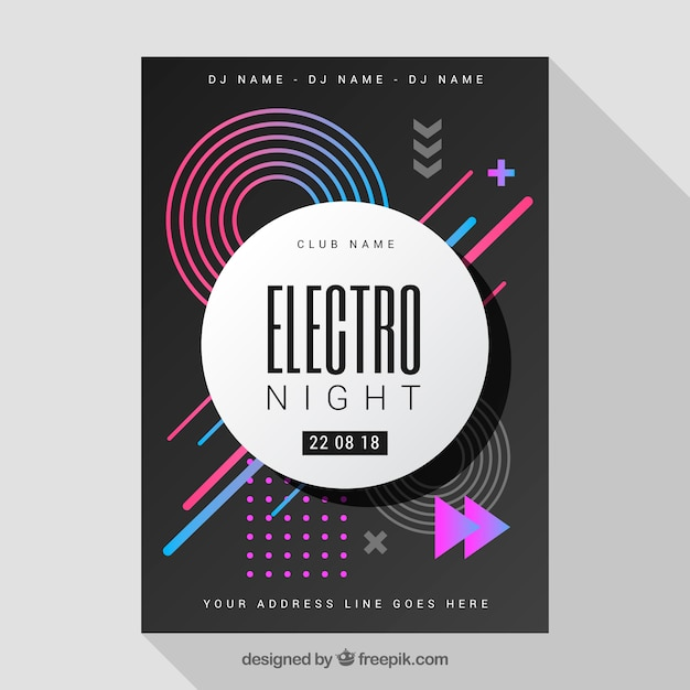Abstract party poster template with geometric design Vector | Free ...