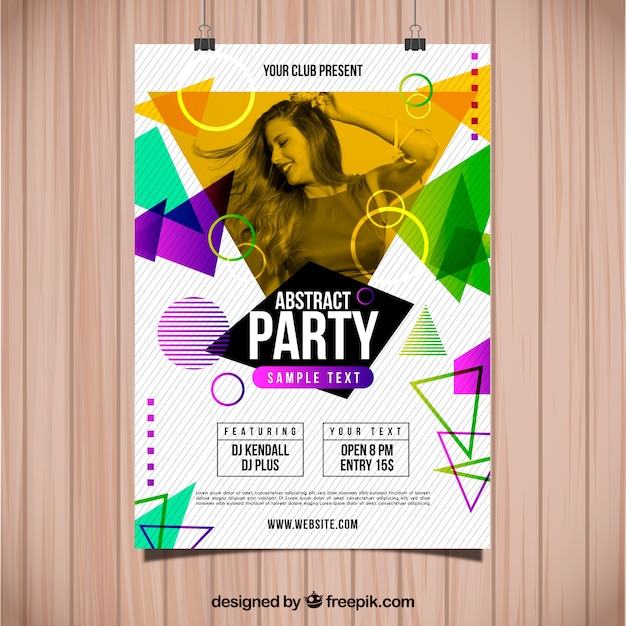 Abstract party poster template with photo Free Vector
