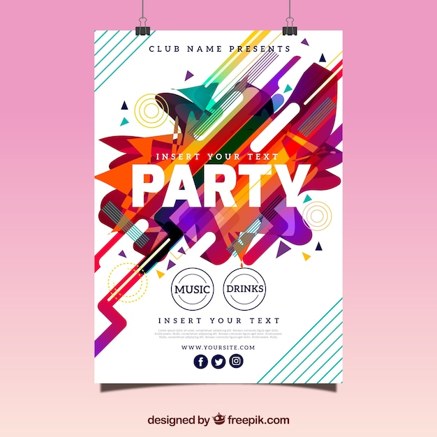 Abstract party poster with fun style Vector | Free Download