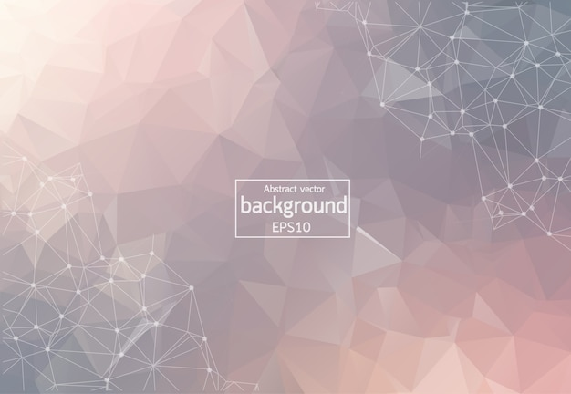 Abstract pastel polygonal space background with connecting dots and lines. geometric polygonal background molecule and communication. concept of science, chemistry, biology, medicine, technology. Premium Vector