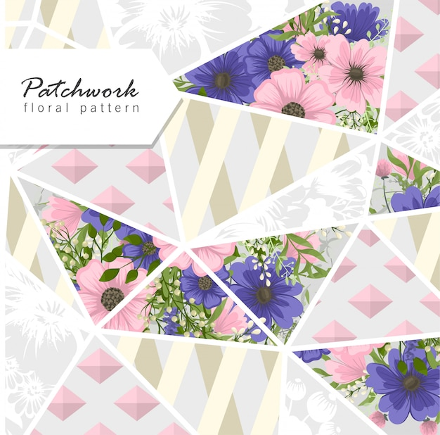 Abstract patchwork with flowers Free Vector
