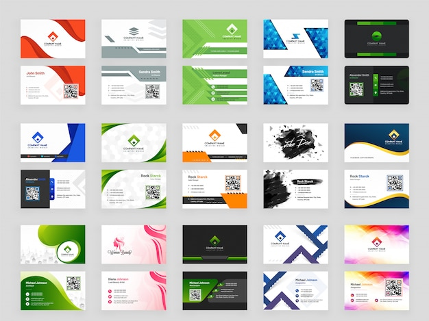 Abstract pattern business card collection Premium Vector
