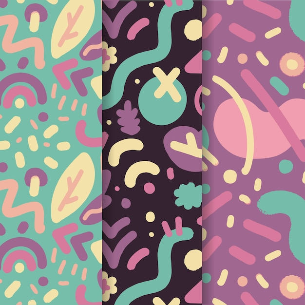 Abstract pattern collection in hand drawn Free Vector