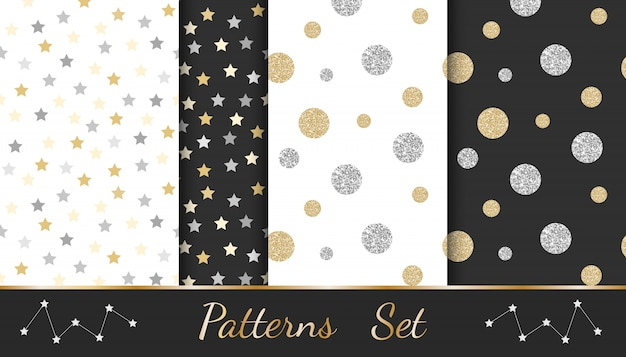 Abstract patterns with glitter elements: circles, stars, lines Premium Vector
