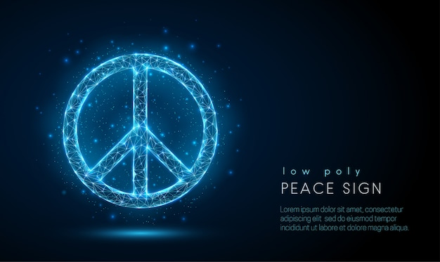 Abstract peace sign. low poly style design Premium Vector
