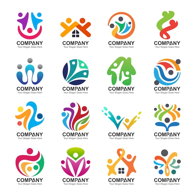 Abstract people and family logo collection,people icons, health logo template, care symbol Premium V
