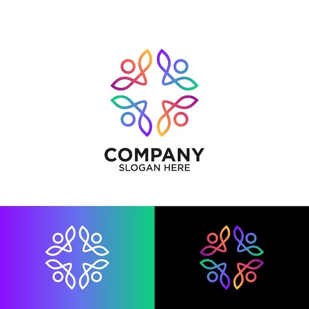コミュニティのロゴデザインのための抽象的な人々 Premiumベクター