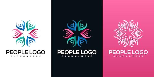 抽象的な人のロゴ Premiumベクター