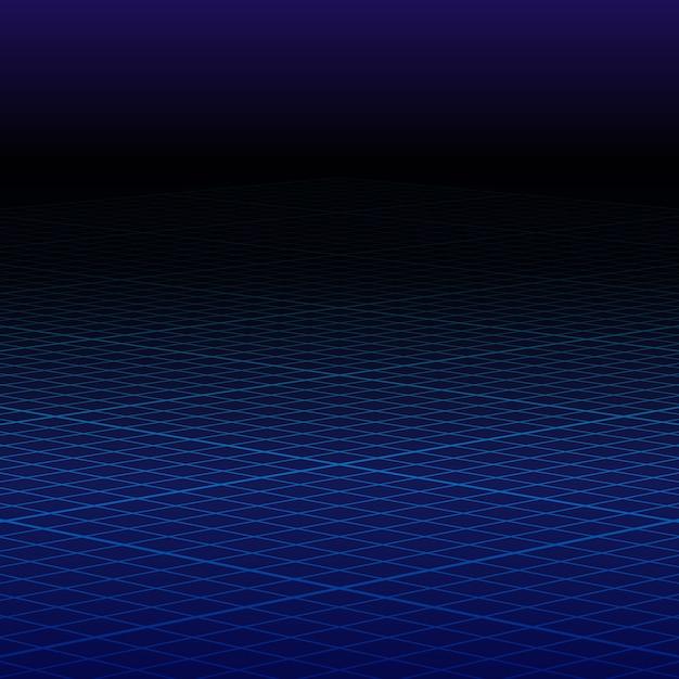 抽象的な遠近法の青いグリッド。ワイヤーフレームランドスケープ。 Premiumベクター