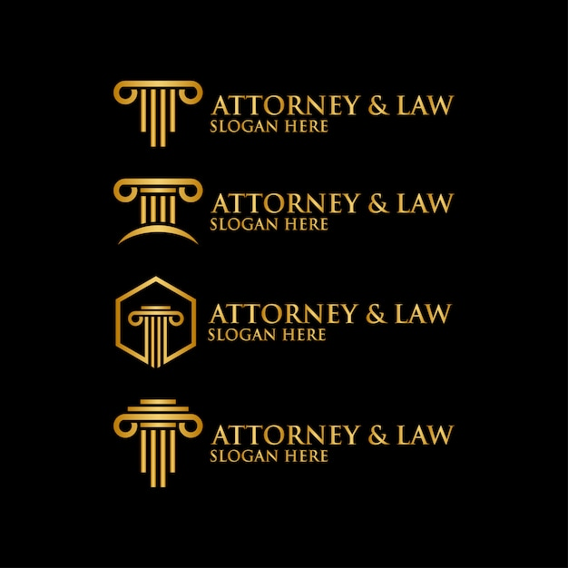 Abstract pillar attorney law logo template vector Premium Vector