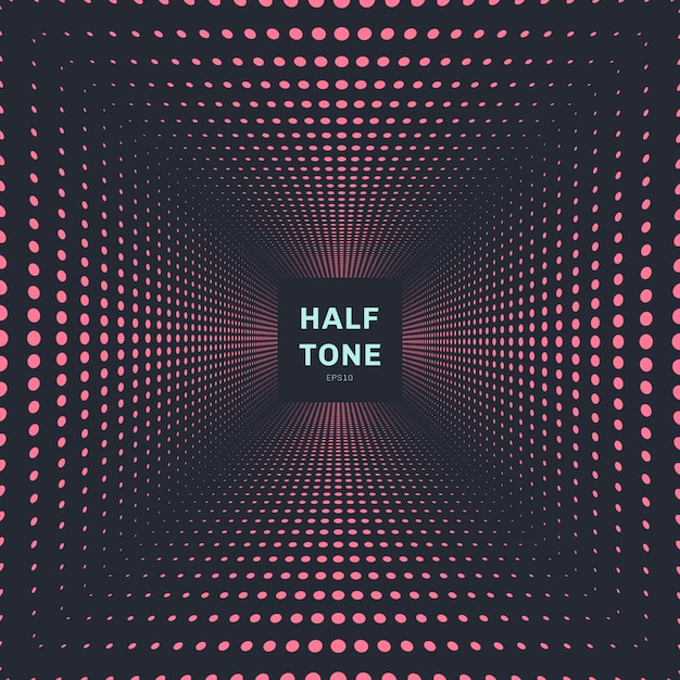 Abstract pink color halftone perspective background Premium Vector