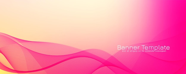 抽象的なピンク色の波のバナーの背景 無料ベクター