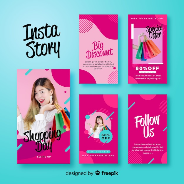 Abstract pink instagram stories template Free Vector