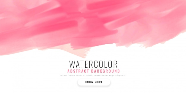 Abstract pink watercolor banner design Free Vector