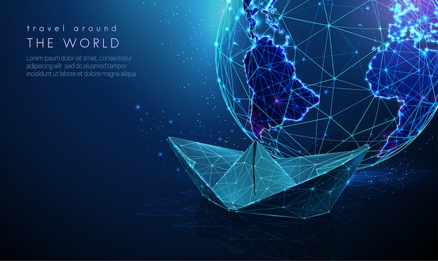 Abstract planet earth with paper ship. tourism concept. low poly style design. blue geometric background. wireframe light connection structure. modern  graphic. isolated  illustration Premium Vector