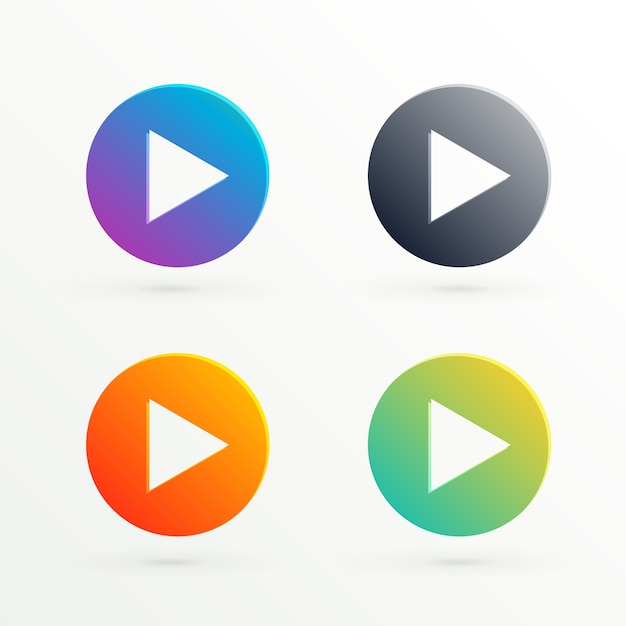 Abstract play icon in different colors Free Vector