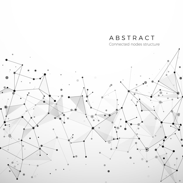 デジタルデータ、webおよびノードの抽象的な神経叢構造。粒子とドットの接続。原子と分子の概念。幾何学的な多角形の医療の背景。複雑なネットワーク。図 Premiumベクター