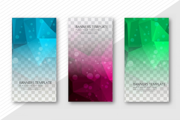 Abstract polygon transparent  banners set template vector Free Vector
