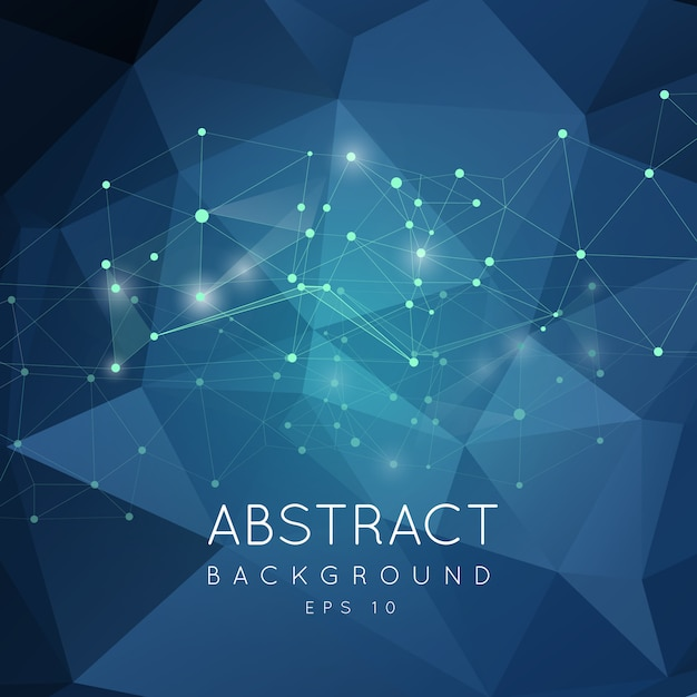 Абстрактное полигональное backgroun. низкополигональная с соединительными точками и линиями. Premium векторы