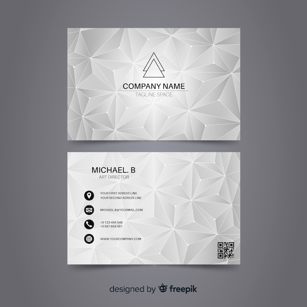 Abstract polygonal business card template Free Vector