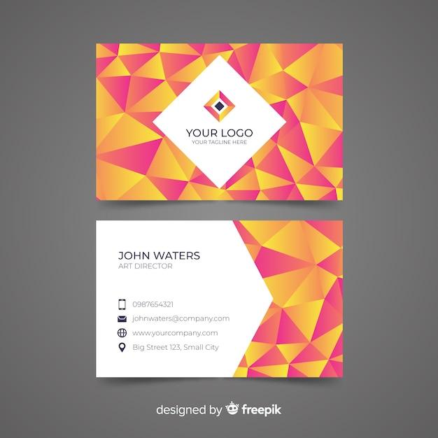 Абстрактный многоугольной шаблон визитной карточки Бесплатные векторы
