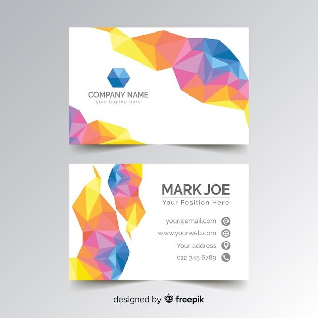 Абстрактный многоугольной красочный шаблон визитной карточки Бесплатные векторы