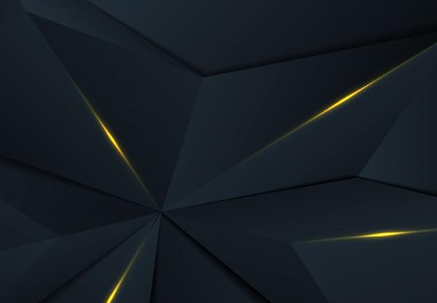 シャドウとゴールドのデザインの背景を持つプレミアム青い三角形の抽象的な多角形デザイン。 Premiumベクター