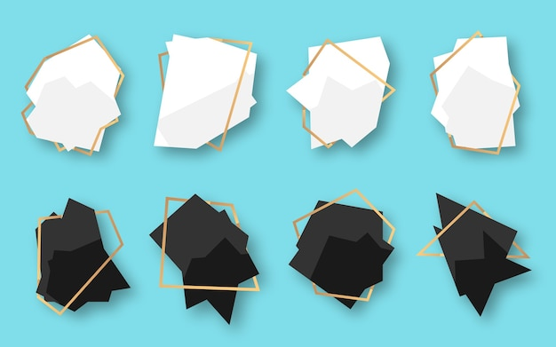 Abstract polygonal geometric white, black banner with gold line frame set. empty template for text Premium Vector