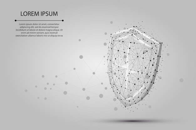 Abstract polygonal low poly shield. protect and secure digital wireframe Premium Vector