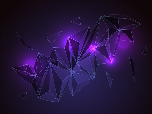 Abstract polygonal or low poly shapes with neon light effect.  Free Vector