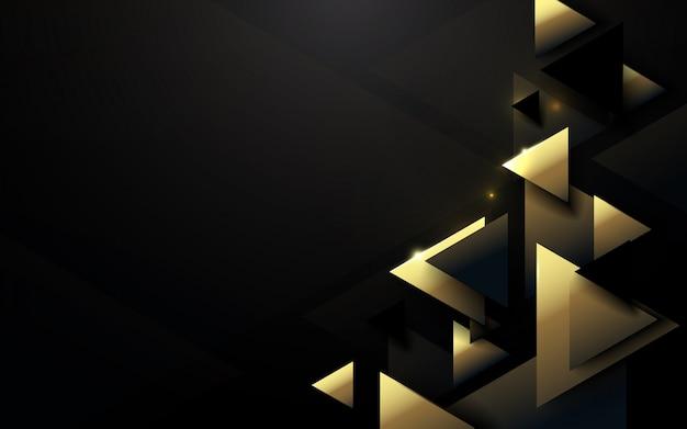 抽象的な多角形パターンの豪華な黒と金の背景 Premiumベクター
